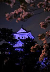 医療従事者へ感謝の気持ちを込めた大垣城のライトアップ